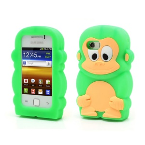 Green Lovely 3D Monkey For Samsung Galaxy Y S5360 Shock Absorbent Silicone Case