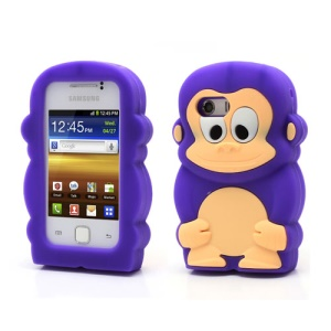 Purple For Samsung Galaxy Y S5360 Silicone Cover Case Fancy 3D Monkey Design