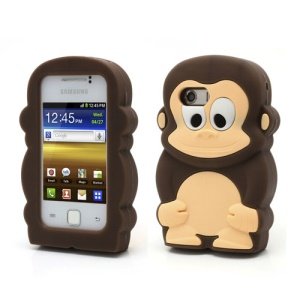 Coffee For Samsung Galaxy Y S5360 Fancy 3D Monkey Shield Soft Silicone Skin Case