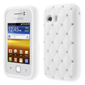 White Sparkling Starry Sky Rhinestone Silicone Case for Samsung Galaxy Y S5360