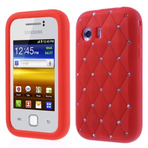 Red Sparkling Starry Sky Rhinestone Silicone Cover for Samsung Galaxy Y S5360