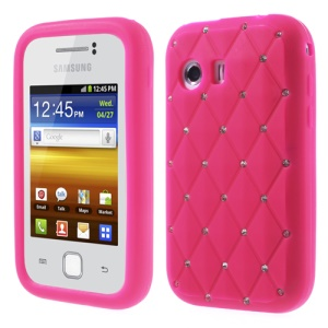 Rose Sparkling Starry Sky Rhinestone Silicone Cover for Samsung Galaxy Y S5360
