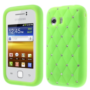 Green Sparkling Starry Sky Rhinestone Silicone Shell for Samsung Galaxy Y S5360