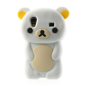 White 3D Rilakkuma Bear Silicone Cover for Samsung Galaxy Ace S5830