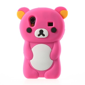 Rose 3D Rilakkuma Bear Silicone Case for Samsung Galaxy Ace S5830