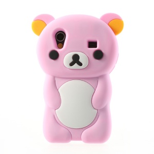 Pink 3D Rilakkuma Bear Silicone Case for Samsung Galaxy Ace S5830