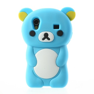 Light Blue 3D Rilakkuma Bear Silicone Case for Samsung S5830 Galaxy Ace