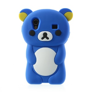 Dark Blue 3D Rilakkuma Bear Silicone Case for Samsung S5830 Galaxy Ace