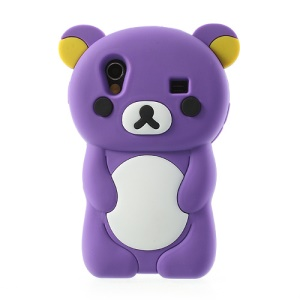 Purple 3D Rilakkuma Bear Silicone Case for Samsung S5830 Galaxy Ace