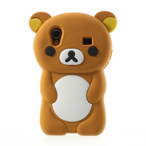 Brown 3D Rilakkuma Bear Silicone Case for Samsung S5830 Galaxy Ace