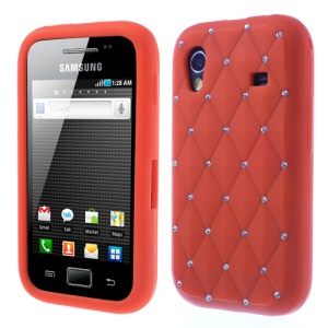Red for Samsung S5830 Galaxy Ace Sparkling Starry Sky Rhinestone Silicone Skin
