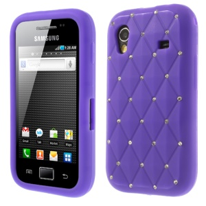 Purple for Samsung S5830 Galaxy Ace Sparkling Starry Sky Rhinestone Silicone Cover
