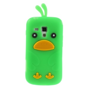 Green Adorable 3D Duck Silicone Case Cover for Samsung Galaxy S Duos S7562 S7560 S7560M