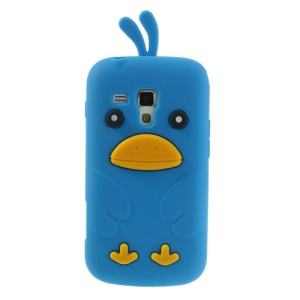 Light Blue Adorable 3D Duck Silicone Back Case for Samsung Galaxy S Duos S7562 S7560 S7560M