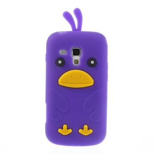 Purple Adorable 3D Duck Silicone Back Case for Samsung Galaxy S Duos S7562 S7560 S7560M