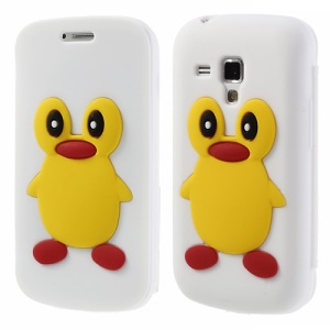 White 3D Penguin Suction Cup Flip Silicone Shell for Samsung Galaxy S Duos S7562 S7560 S7560M