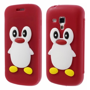 Red 3D Penguin Suction Cup Flip Folio Silicon Shell for Samsung Galaxy S Duos S7562 S7560 S7560M