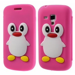 Rose Front & Back Suction Cup Silicon Case for Samsung Galaxy S Duos S7562 S7560 S7560M 3D Penguin