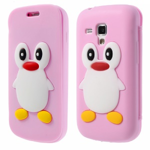 Pink Front & Back Suction Cup Silicon Cover for Samsung Galaxy S Duos S7562 S7560 S7560M 3D Penguin
