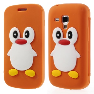 Orange for Samsung Galaxy S Duos S7562 S7560 S7560M 3D Penguin Suction Cup Folio Silicone Shell