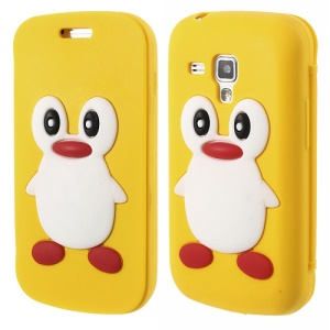 Yellow for Samsung Galaxy S Duos S7562 S7560 S7560M 3D Penguin Suction Cup Folio Silicone Case