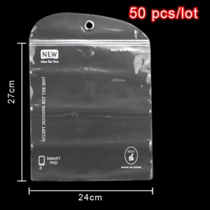 50pcs/lot Plastic Zip-lock Waterproof Packaging Bag with Hang Hole for iPad 2 3 4 Samsung Galaxy Tab Tablet PC Cases, Size: 27 x 24cm