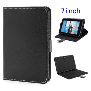 Universal Folio Leather Stand Case for 7-inch Tablet PC MID PDA - Black