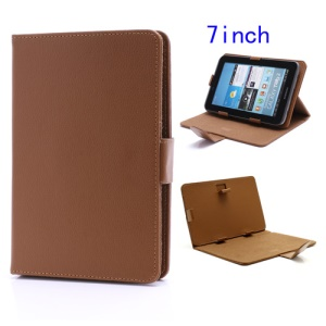 Universal Folio Leather Case Cover w/ Stand for 7-inch Tablet PC MID PDA - Brown