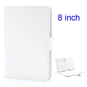Universal Folio Leather Case Cover w/ Stand for 8-inch Tablet PC PDA MID - White