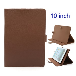 Universal Folio Leather Stand Case Cover for 10-inch Tablet PC PDA MID - Brown