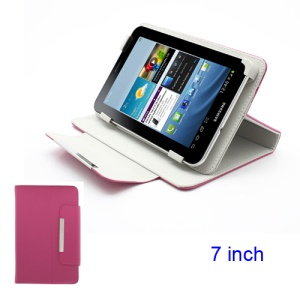 Universal Magnetic Leather Stand Case Cover for 7-inch Tablet PC MID PDA - Rose