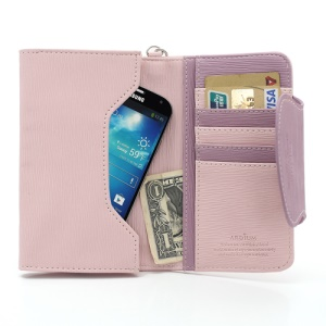 Ardium Smart Pastel Pouch Wallet Case for Samsung Galaxy Note 2 N7100 / N7000 i9220 - Purple / Pink