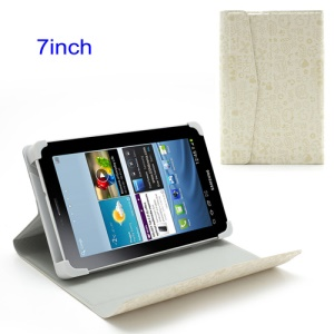 White Cute Cartoon Magnetic Leather Case with Stand for 7-inch Tablet PC