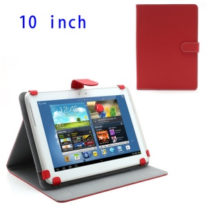 Premium Universal Folio Leather Case Cover Stand for 10-inch Tablet PC - Red