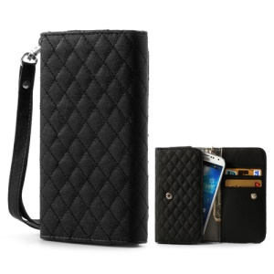 Black Rhombus Leather Wallet  Pouch Case for Samsung i9500 i9300 / Sony / HTC / LG / Nokia / iPhone etc, Size: 13.8 x 7.1cm