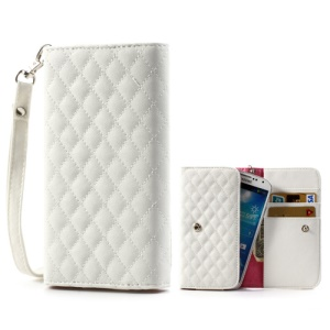 White Rhombus Leather Wallet Pouch Case for Samsung i9500 i9300 / Sony / HTC / LG / Nokia / iPhone etc, Size: 13.8 x 7.1cm