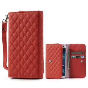 Red Rhombus Leather Wallet Pouch Handbag for Samsung i9500 i9300 / Sony / HTC / LG / Nokia / iPhone etc, Size: 13.8 x 7.1cm