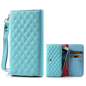 Blue Rhombus Leather Wallet Pouch Bag for Samsung i9500 i9300 / Sony / HTC / LG / Nokia / iPhone etc, Size: 13.8 x 7.1cm