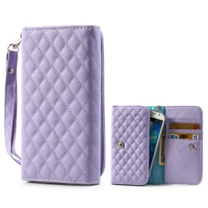 Purple Rhombus Leather Wallet Pouch Cover for Samsung i9500 i9300 / Sony / HTC / LG / Nokia / iPhone etc, Size: 13.8 x 7.1cm