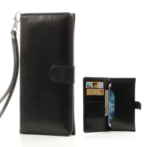 Black Soft Leather Wallet Pouch for iPhone 5s 5c 5 4S 4 / Samsung i9500 i9300 i9190/ Sony / HTC etc, Size: 15.5 x 7.5cm