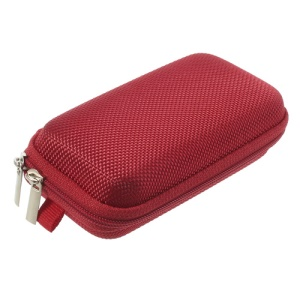 Red Earphone Cable Charging Cable Battery Zipper Storage Box Carrying Case Bag, Size: 11.5 x 7 x 3.5CM