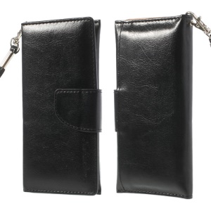 Black Wallet Leather Pouch Case for iPhone 5 5s 5c 4 4S/ Nokia Asha 500 502 503, Size: 13.5 x 6cm