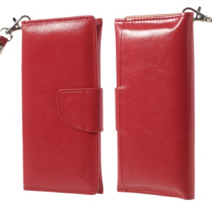 Red Leather Pouch Wallet Case for iPhone 5 5s 5c 4 4S/ Nokia Asha 500 502 503, Size: 13.5 x 6cm