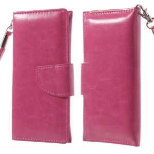 Rose Leather Pouch Wallet Cover for iPhone 5 5s 5c 4 4S/ Nokia Asha 500 502 503, Size: 13.5 x 6cm