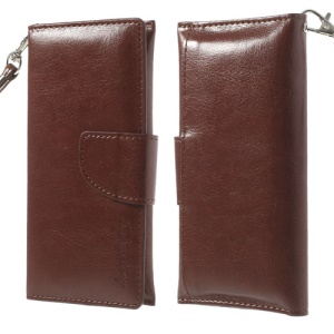 Brown Leather Wallet Pouch Case for iPhone 5 5s 5c 4 4S/ Nokia Asha 500 502 503, Size: 13.5 x 6cm