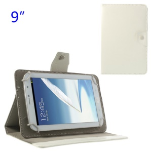 Universal Crazy Horse Flip Leather Stand Case for Samsung P7300 P7310 P7320 9-inch Tablet PC - White