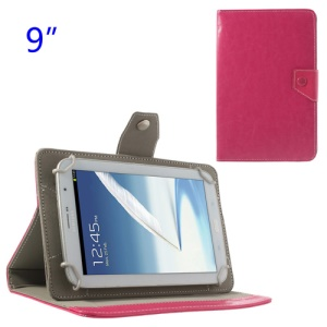 Universal Crazy Horse Flip Leather Stand Cover for Samsung P7300 P7310 P7320 9-inch Tablet PC - Rose