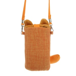 Orange Animob Cat Flax Pouch for iPhone 5 5s 5c Samsung S4 S3 Sony LG HTC etc, Size: 15 x 9cm