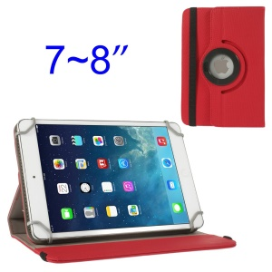 Red 360 Degree Rotary Twill Leather Stand Case for iPad Mini 2 Retina / iPad Mini 7-8 inch Tablet PC