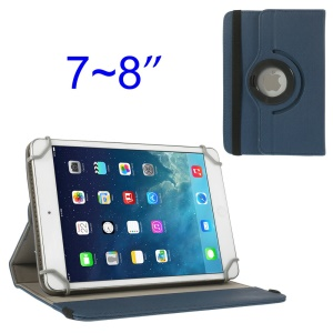 Dark Blue 360 Degree Rotary Twill Leather Stand Cover for iPad Mini 2 Retina / iPad Mini 7-8 inch Tablet PC